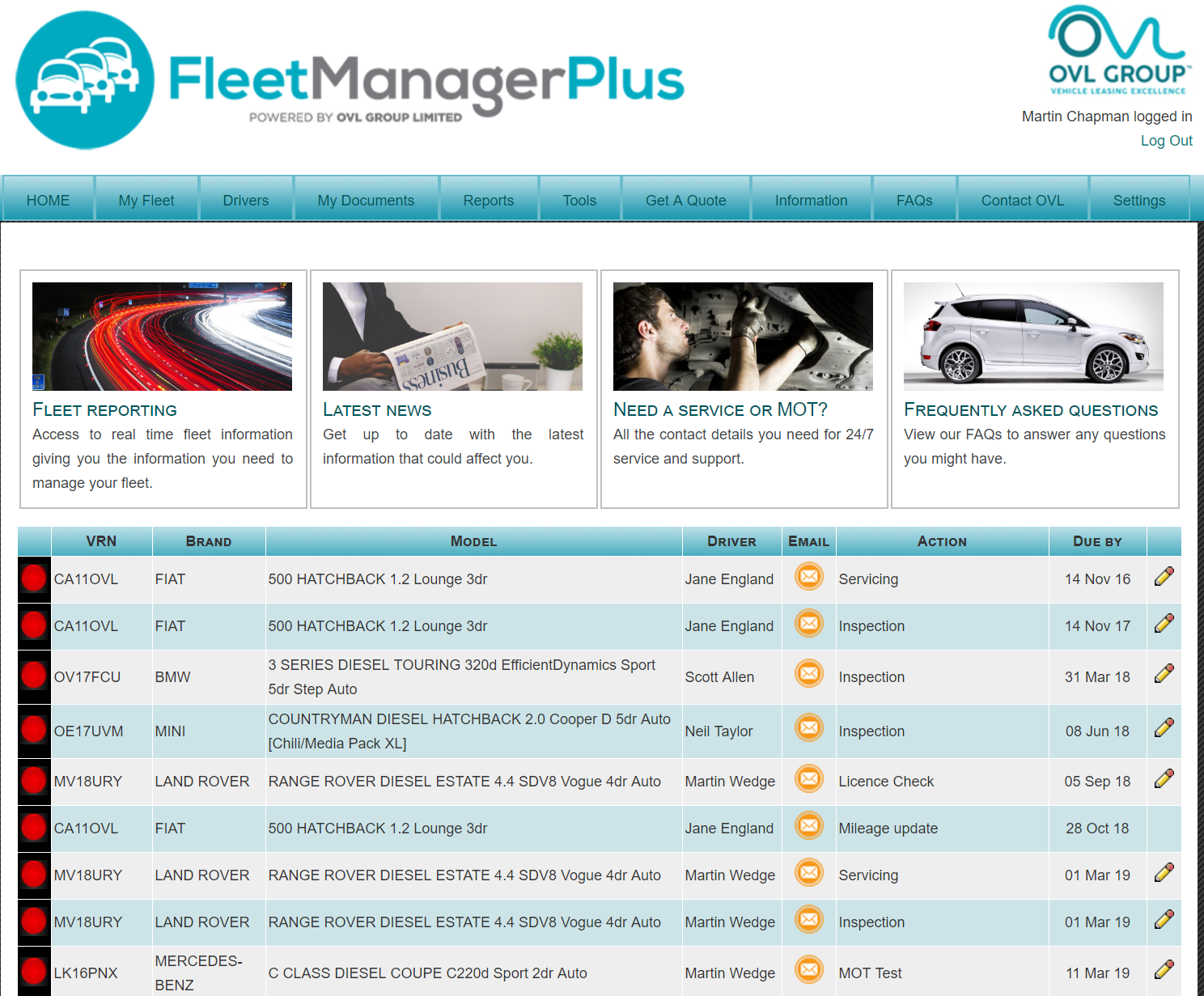 Common data accessed through fleet management software